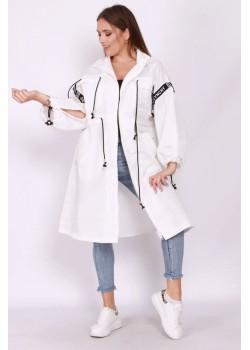 Biała długa kurtka oversize