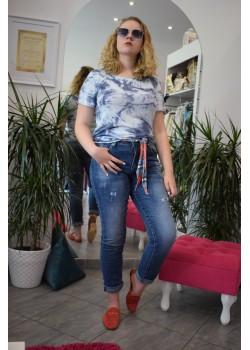 Spodnie jeansy shiny z ozdobną szarfą